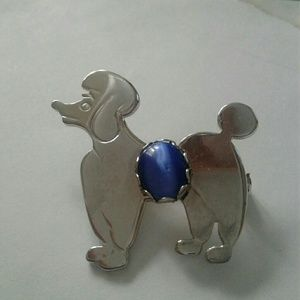 Jewelry - Vintage poodle brooch with blue cat eye stone